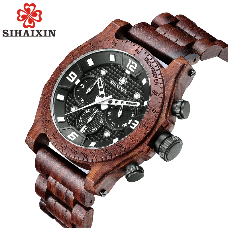 SIHAIXIN Wood Watches Men Business Luxury Stop Watch with Stainless Steel Case Wooden Chronograph Military Quartz Red Wristwatch bobo bird brand new sun glasses men square wood oversized zebra wood sunglasses women with wooden box oculos 2017