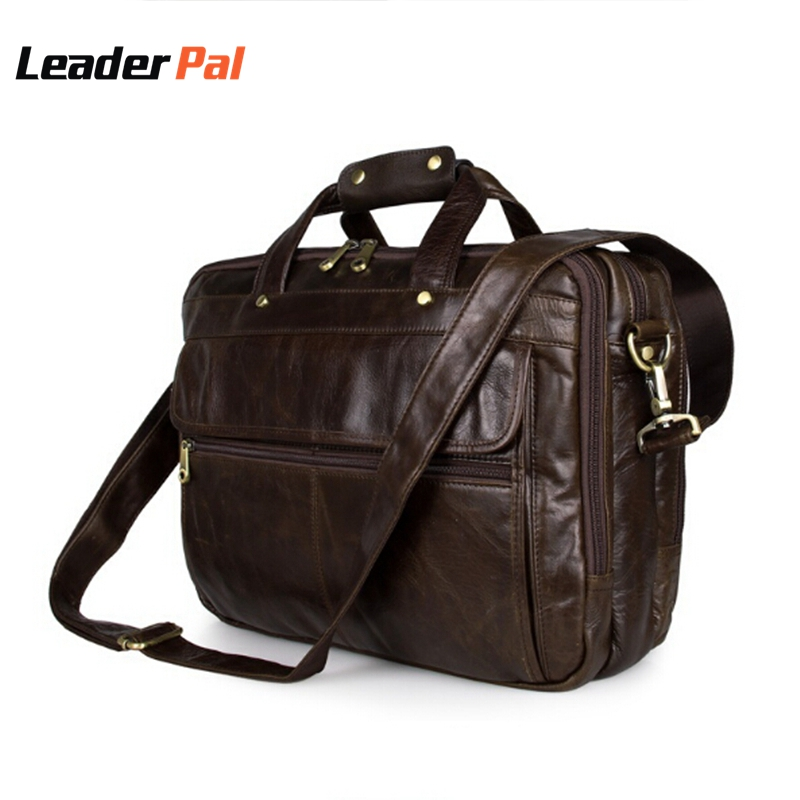 First Layer Cowhide Leather Messenger Bags Men Casual Briefcase Business Shoulder Bag Large Laptop Handbag Bag Men's Travel Bag