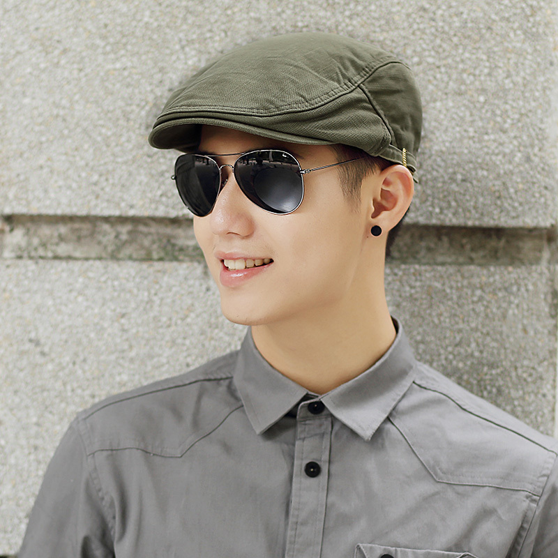 Male Summer Solid Newsboy Caps Men Casual Ivy Hat Pure Cotton Flat Peaked Cap Women Plain Beret Hats(China)
