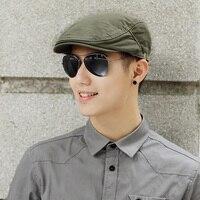Male Summer Solid Newsboy Caps Men Casual Ivy Hat Pure Cotton Flat Peaked Cap Women Plain