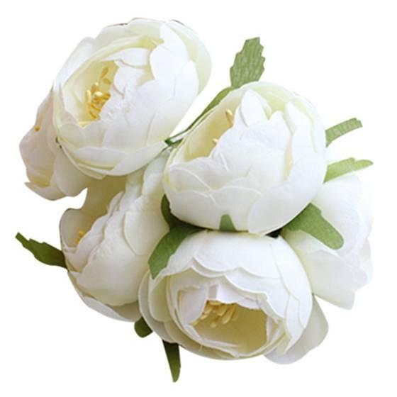 6pcs Lot Simulation Silk Cloth Bouquet Bride Holding Flowers