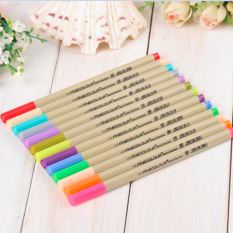 16/24/48 24A/24B Colors Fineliner Pens Marker Drawing Pen 0.3mm Minuteness Sketch Art Marker Water Pen Brush Stationery