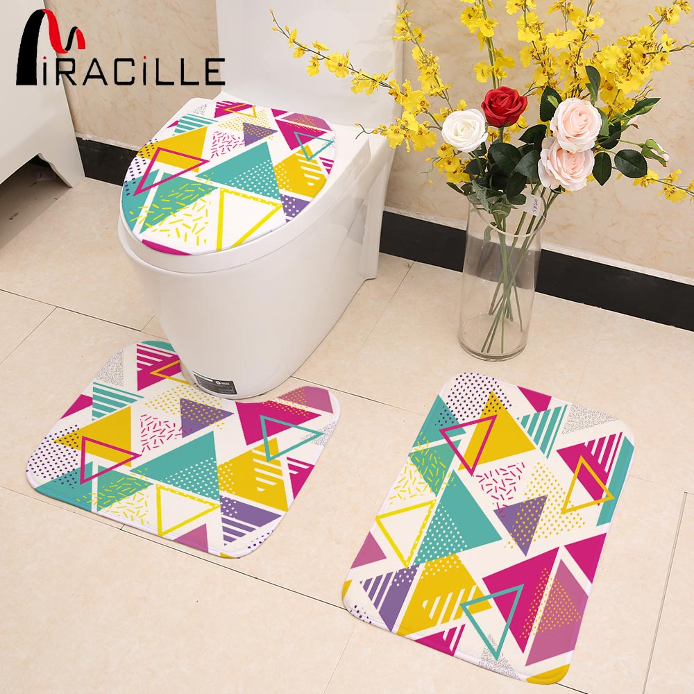 Miracille Colorful Bathroom Accessories Set Coral Velvet Geometry Printed Toilet Seat Cover Bath Anti-slip Carpet Mat Home Decor
