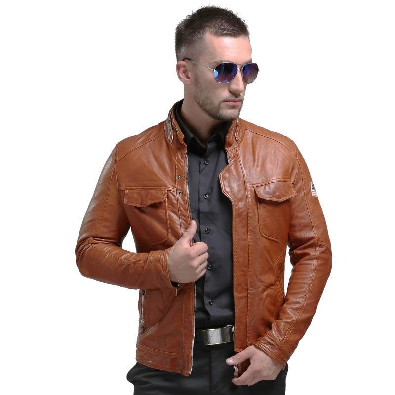 Pria Asli Jaket Kulit Musim Dingin Nyata Jaket Kulit Moto & Biker - Pakaian Pria - Foto 6