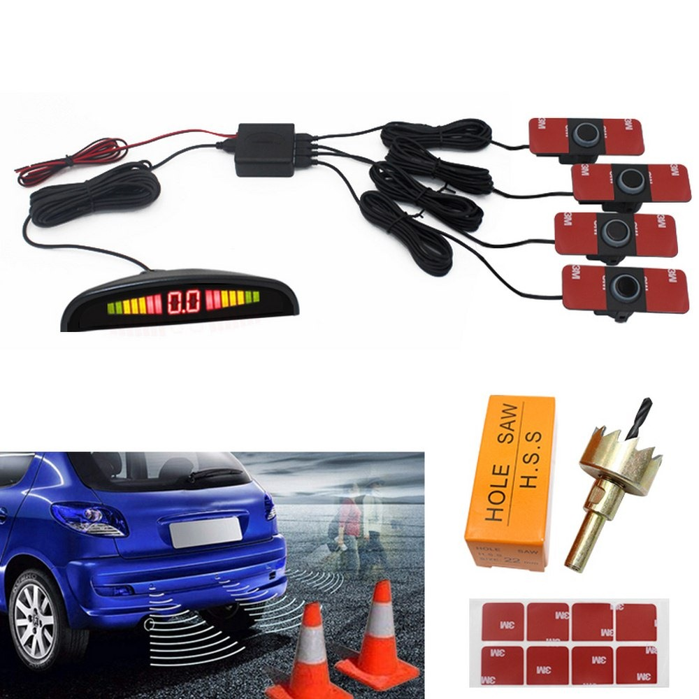 Car Parking Sensor Reversing Radar Color LED With 4 Monitoring Detectors Bibi Three level Heartbeat Crescent Radar in Parking Sensors from Automobiles Motorcycles