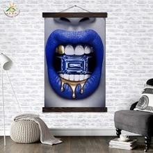 Лучший!  Синяя Губа с Кристаллом Современный Wall Art Print Pop Art Картина И Плакат Твердого Дерева Висит