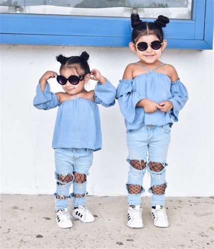 Fashion Newborn Kids Baby Girls Off Shoulder Halter Loose Tops Denim Mesh Fishnet Patchwork Pants Hole Jeans Sexy Outfit