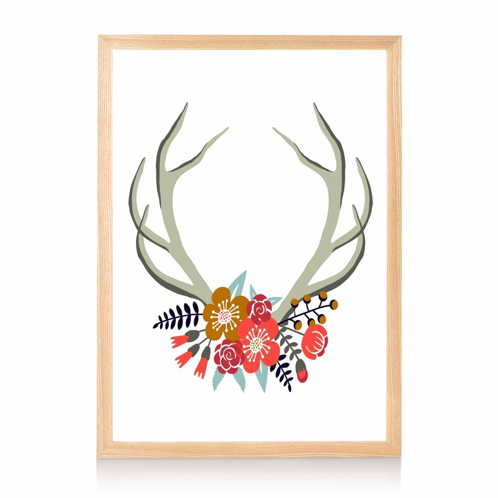 Deer Antlers Flower Quote Canvas Art Print Painting Poster Wall ...