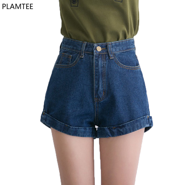 Estilo Retro Cintura Alta Shorts Jeans 4 Cor Pura das Mulheres Calções de Moda Feminina Calça Jeans Ondulação quente Curto Para 2017 Primavera verão