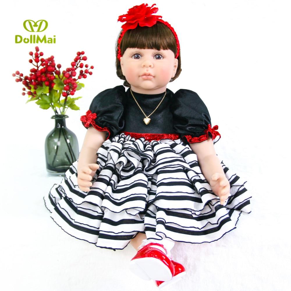 Silicone Reborn bébé poupée jouets 60 cm princesse fille bébés reborn bambin poupée bebe Brinquedos enfant cadeau d'anniversaire