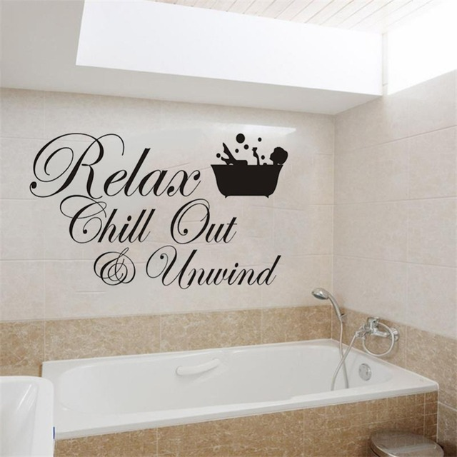 relax chill out unwind wall sticker for living room bedroom bathroom home decor letters wall decal
