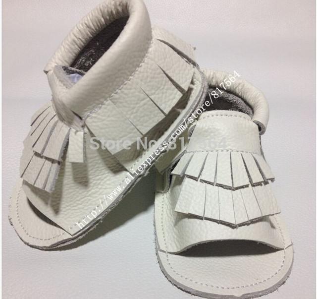 2017 moda verão genuína sapatos de couro do bebê prewalker fringe moccs, meninos meninas chinelos sapatos mocassins borla tamanho maior