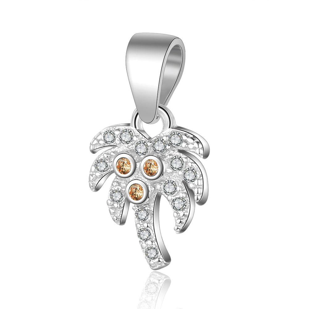 1PC 100 925 Sterling Coconut tree with Yellow Clear CZ Zircon Stone Charm Pendant Fit DIY Necklace Jewelry Making Findings in Charms from Jewelry Accessories