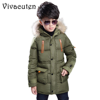 2018 Children Winter Jacket For Boys Casual Fur Hooded Thick Cotton Padded Teens Boy Long Coat Solid Parka Kids Clothes Outwears
