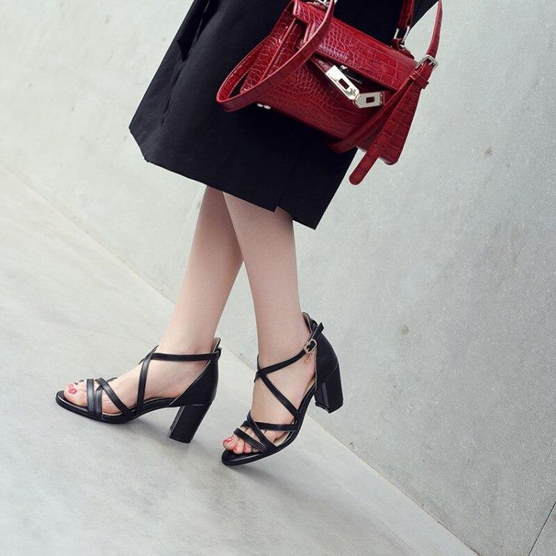 Sexy Chaussures 34 43 7 La Talons Taille Croix Photo Gladiateur Mode as As Nouvelle Cm Carrés D'été Partie Photo Haut Sandales Dames Femme Plus Attachées Rome Ewatz6qw