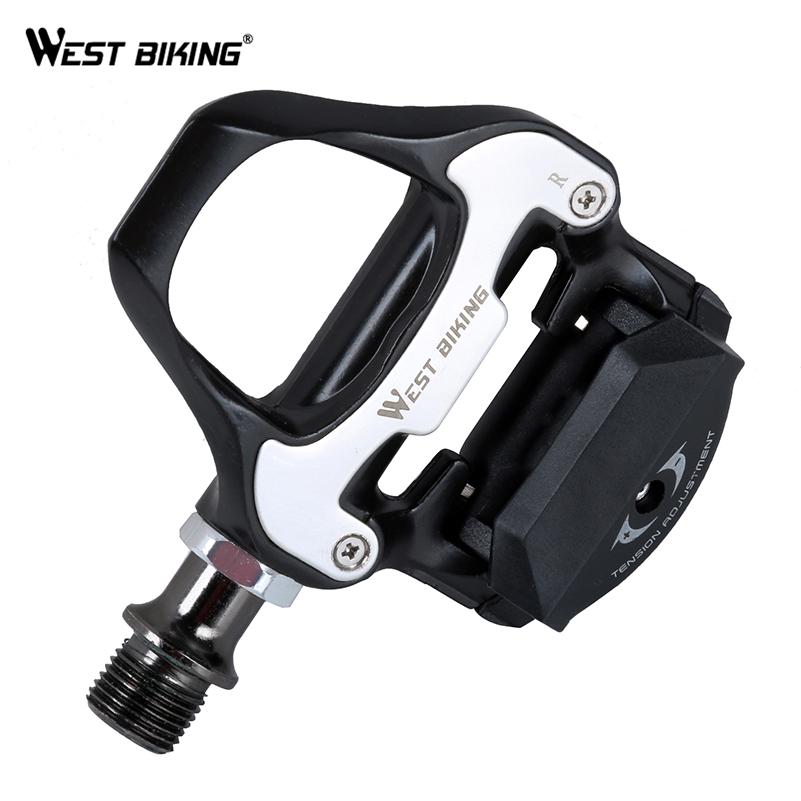WEST BIKING Road Bike Pedal Self-locking Pedals Beginner Aluminum Alloy Bicycle Cycling Platform Pedals Include SPD-SL Cleats rockbros bike mtb magnesium pedals platform cnc steel axle titanium axle magnesium ouriding bike parts platform bike pedal
