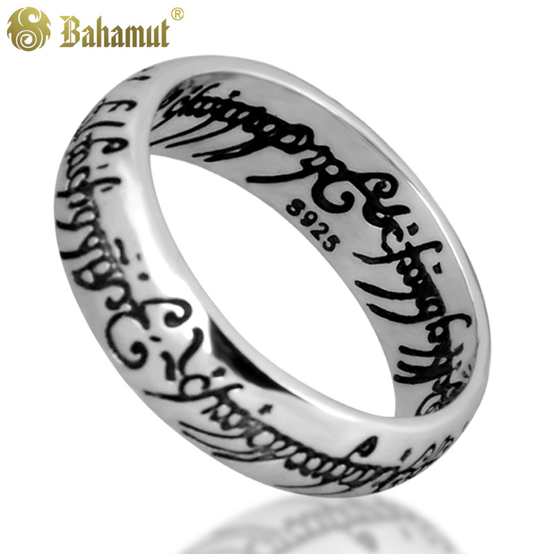 Classic Men Women LOTR Ring Wedding Band Thai Silver Ring Width 6mm Man Engagement Cocktail Husband Father Gifts Ring with Chain 6mm women men classic brushed pure titanium wedding band ring for school graduation cocktail size 4 12 anel de formatura