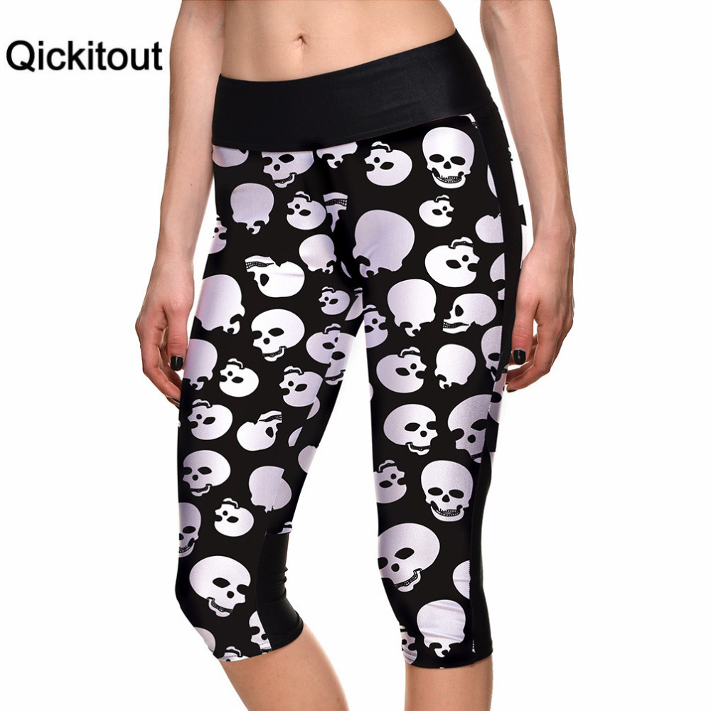 Qickitout   Capri     Pants   2016 Sexy Women's 7 Point   Pants   White Evil Skull Digital Print Women High Waist Side Pocket Phone   Pants