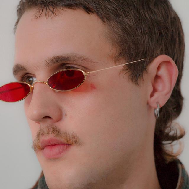 Vintage Oval Small Sunglasses Men Women Designer Skinny Metal Frame Pink Cat Eye Sun Glassses Red Eyewear UV400 Glasses