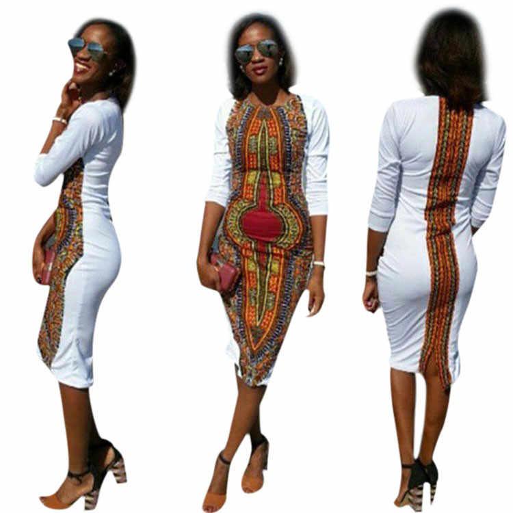 Новый дизайн, женское вечернее платье, сексуальное, лето 2018, повседневное, с круглым вырезом, богемный традиционный Африканский узор, вечерние платья, хит продаж