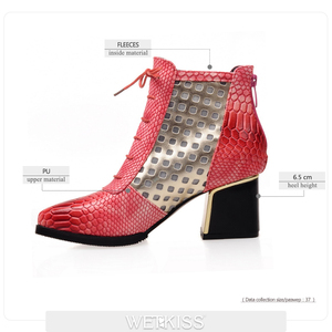 Image 2 - WETKISS Fashion Ankle Boot Snake Print Cross tie Hoof High Heels Short Boots Pointed toe Spring Boots Shoes Spring Woman Shoe
