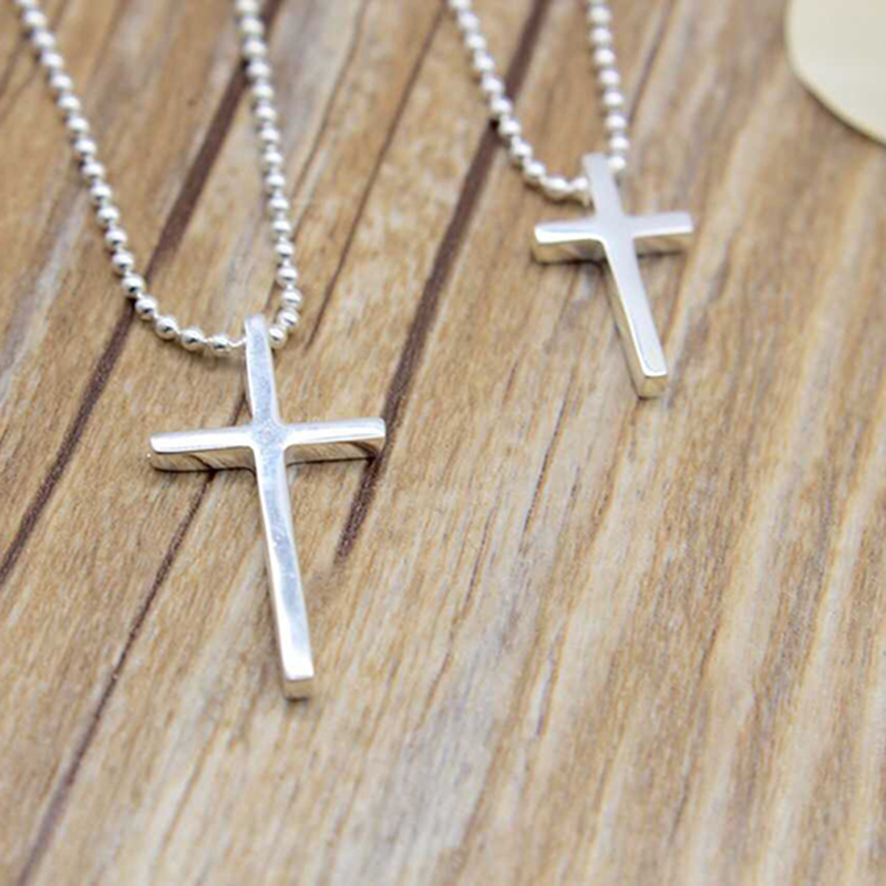 Women/Men Jewelry Wholesale Trendy 925 Sterling Silver Cross Pendant Necklace Punk Style Drop Shipping punk style dragonfly shape pendant embellished necklace for men