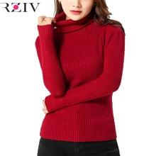 RZIV женщин свитера и пуловеры 2016 женщины вязание топ повседневная solid color водолазка перемычка