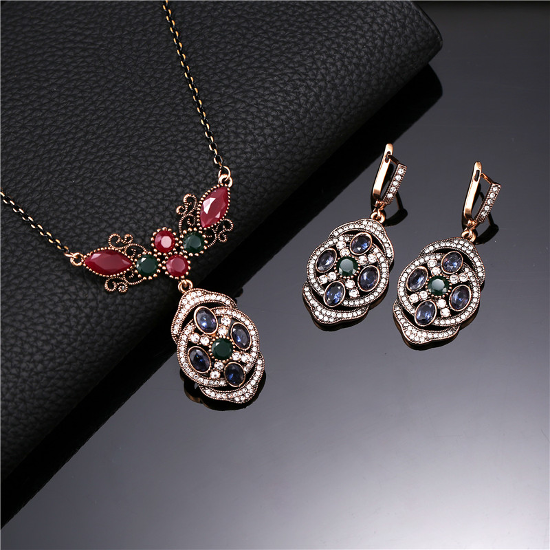 Vintage Jewelry Sets For Women Antique Gold Color Full Rhinestone Multi Color Resin Flower Pendant Necklace And Earrings Set-in Jewelry Sets from Jewelry & Accessories on Aliexpress.com | Alibaba Group