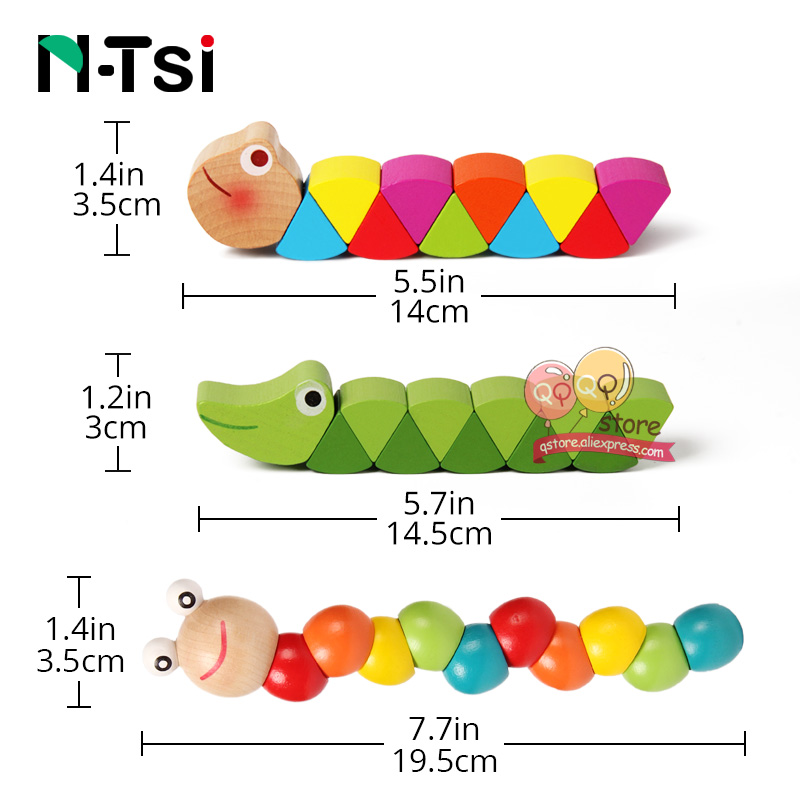 Colorful Wooden Worm Puzzles Kids Learning Educational Didactic Baby Development Toys Fingers Game For Children Montessori Gift #5