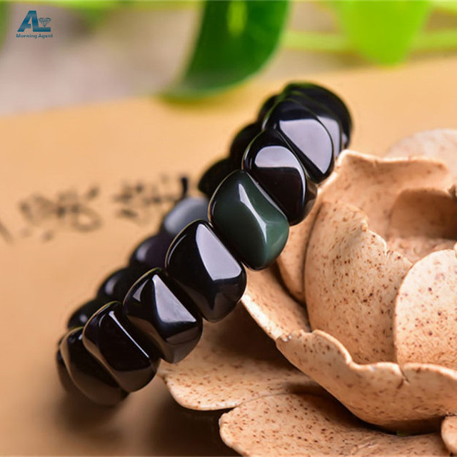 Morning Agent Natural Obsidian Bracelet Certificate 100% natural Rainbow eye Bracelet Women OB06
