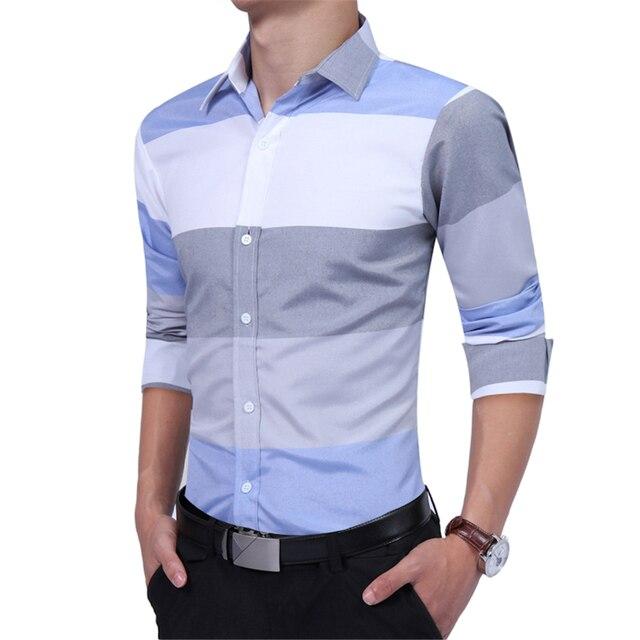 Blue Striped Slim Dress Shirts Men Long Sleeve Fitness Office Shirt Spring Autumn Tirn Down