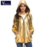 Vangull Fashion Shiny Gold Jacket Women Hooded Coat Jacket Fluorescent 2019 New Spring Drawstring Coat Showerproof Outerwear