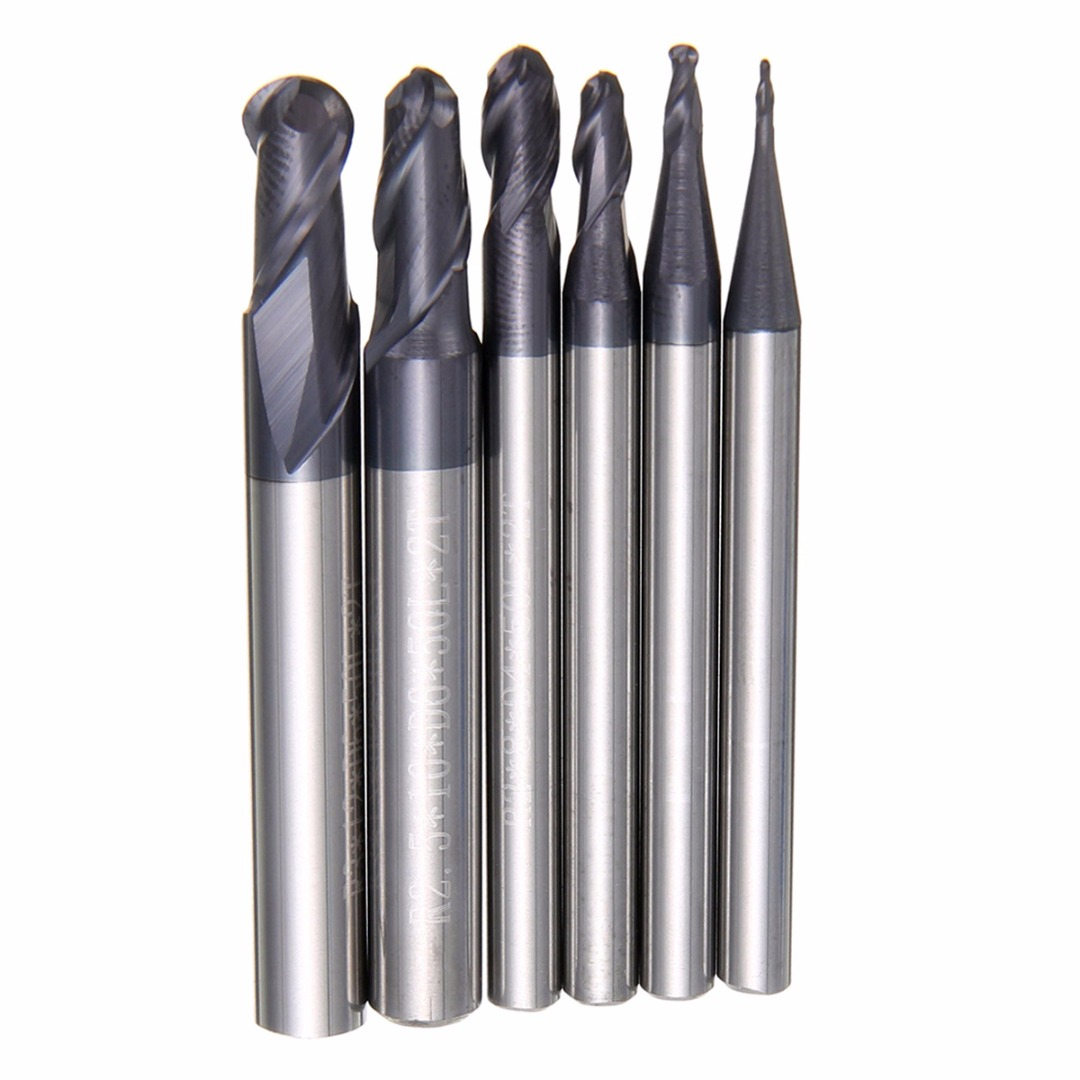 6pcs 2 Flute Ball Nose End Mill 50mm Nitrogen Coated CNC Milling Cutting R0.5-3.0mm Mayitr For Power Tools