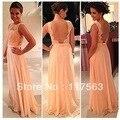 Бесплатная доставка! Высокое качество ню обратно шифона кружева долго персикового цвета платье невесты невесты платье горничной BD111