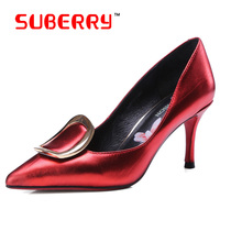 SUBERRY Red Bottom Pumps Valentine Shoes Pointed Toe Metal Decoration High Heels Size 43 Black Shoes Woman High Heel Pumps Sexy