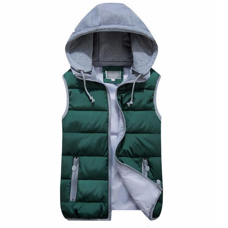ENLU Women Cotton Wool Collar Hooded Down Vest Removable Hat Female Thicken Winter Warm Black Jacket Outerwear New Plus Size