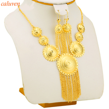 Habesha Earrings Pendant Rope Set Jewelry Gold Color Jewellery For Women's Girl Ethiopian/Eritrean/Sudan African Party Gift