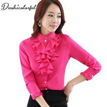 Ruffle blouse women shirt temperament fashion formal long sleeve white camiseta mujer office plus size ladies tops