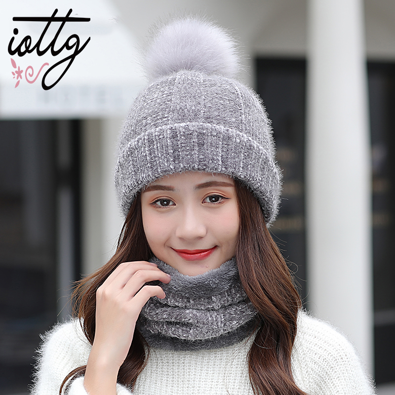 IOTTG Winter Fur Pompom Knitted Hat Women Scarf Caps Mask Gorras Bonnet Warm Winter Hats For Girls   Skullies     Beanies   Hats