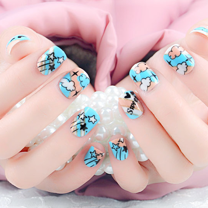 Hot Selling 24pcs/set Fake Nails With Cartoon Designs French ...
