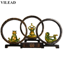 VILEAD 10.2 Resin Frog Yoga Miniatures Figurines Animal Statue Sculpture Vintage Home Decor for Desk Shelf Creative Gift