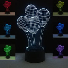 Balloons 3D Night Light LED Desk Table Lamp Living Dining Room Decoration Lighting Kids Friends Gift Valentine's Day Mood Lights(China)