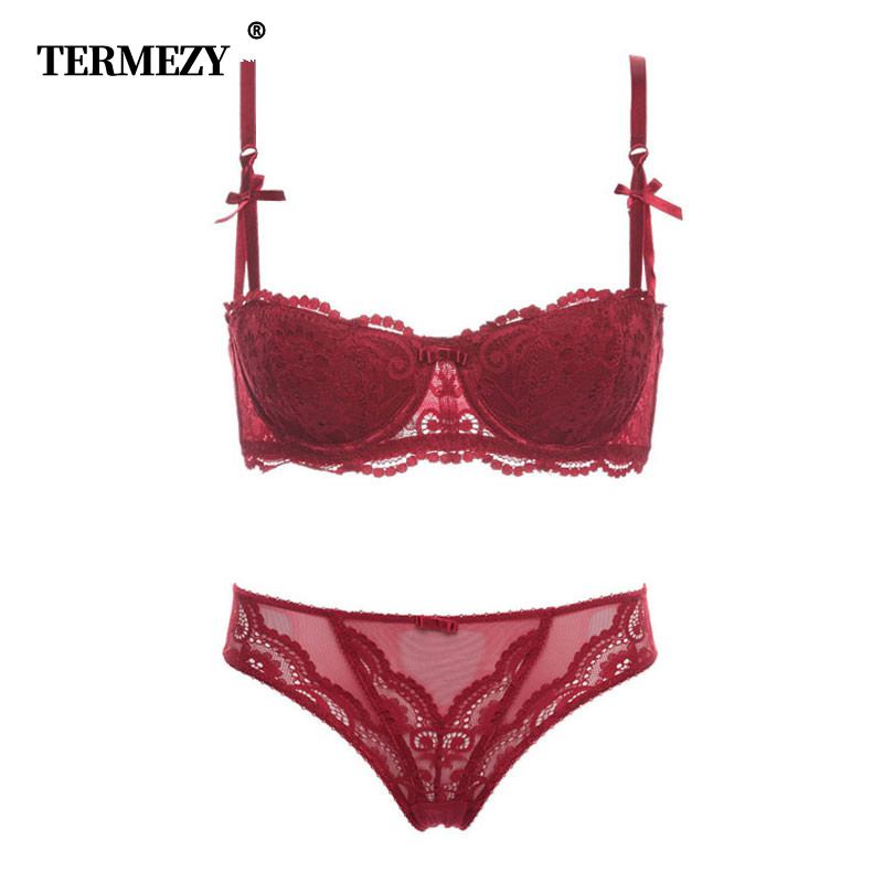 TERMEZY Fashion sexy   bra     set   underwear intimates embroidery lace lingerie temptation black red bride small   bra   underwear   set