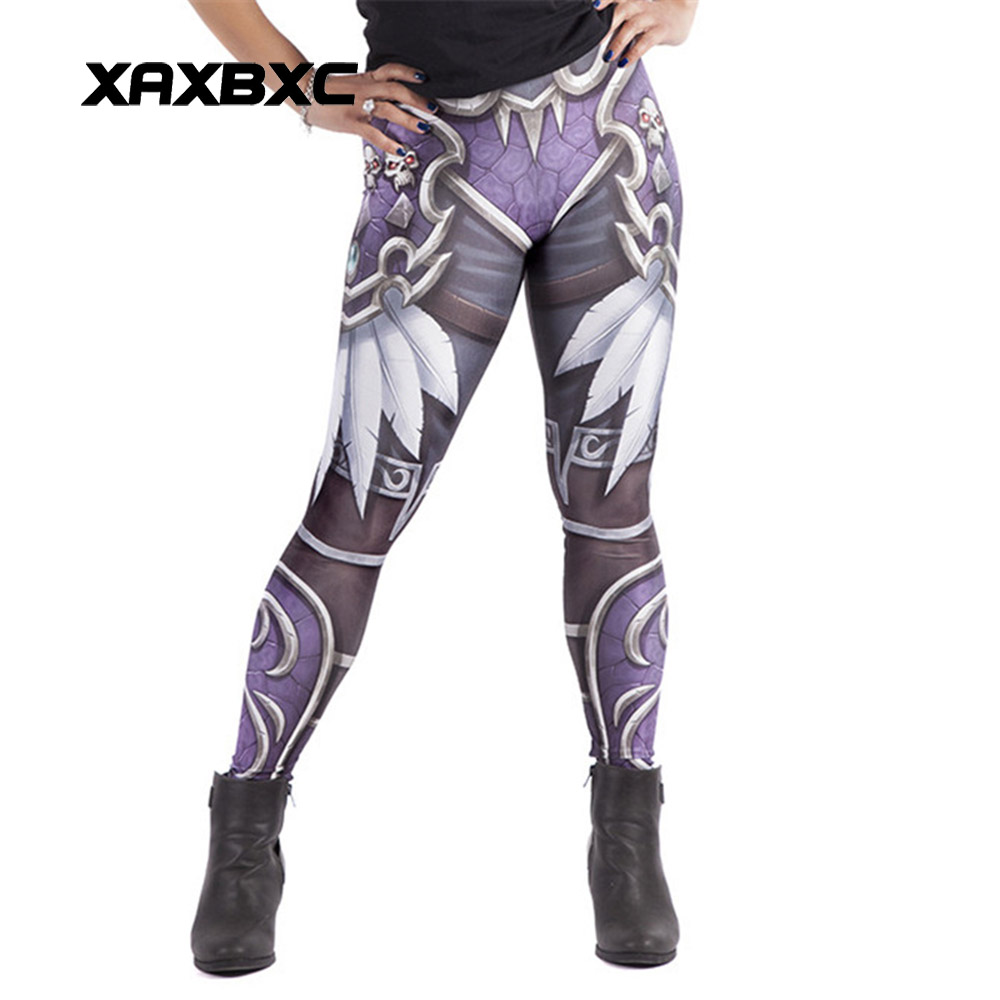 New Arrival 1574 Sexy Girl WOW Game Horde Skull Feather Printed Elastic Fitness Polyester Workout Women   Leggings   Pants