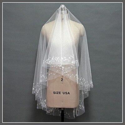 hijab wedding veils beaded Edge 2M Wedding Ivory White wholesale wedding veil Wedding Accessories vestidos