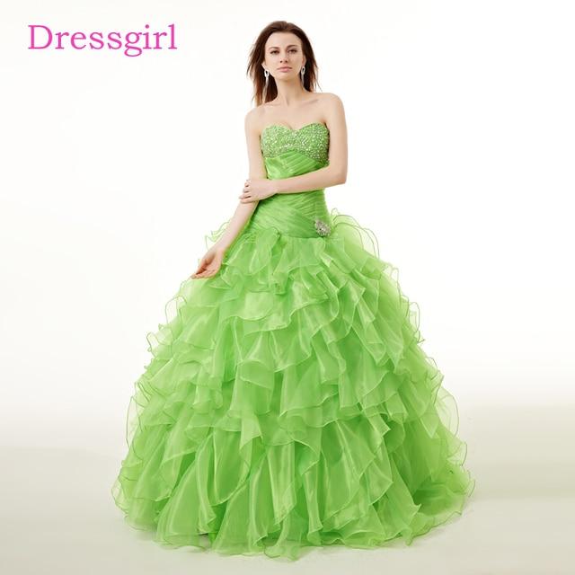 74a9b23d73 Green Cheap Quinceanera Dresses 2019 Ball Gown Sweetheart Floor Length  Organza Ruffles Crystals Sweet 16 Dresses