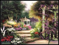 Embroidery Counted Cross Stitch Kits Needlework Crafts 14 ct DMC Color DIY Arts Handmade Decor Emerald Garden