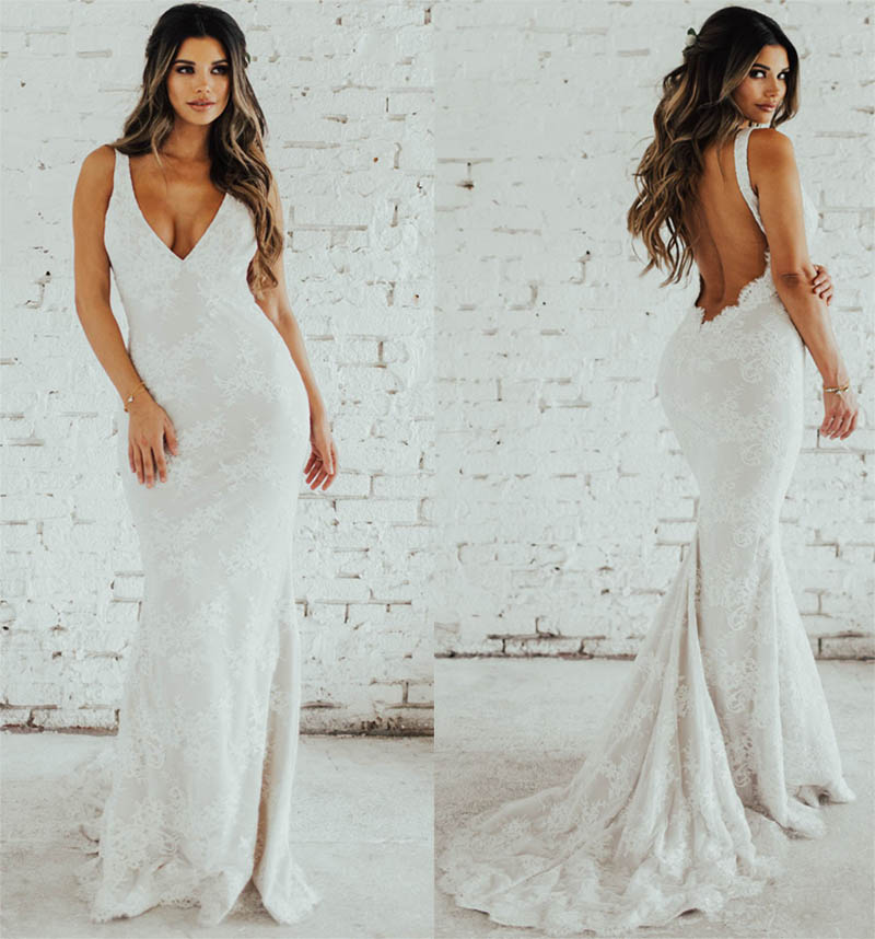 LORIE Lace Mermaid Wedding Dress Sexy V Neck Bride Dress Open Back Robe De Soiree Elegant Boho Wedding Gowns 2019