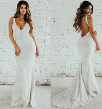 LORIE Lace Mermaid Wedding Dress Sexy V Neck Bride Open Back Robe de soiree Elegant Boho Gowns 2019