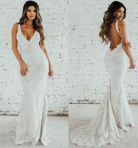 Image 1 - LORIE Lace Mermaid Wedding Dress Sexy V Neck Bride Dress Open Back Robe de soiree Elegant Boho Wedding Gowns 2019